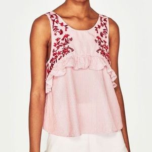 Zara Red Embroidered Ruffle Tank Top Sz S